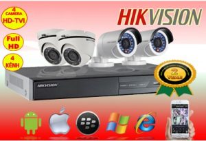 Trọn bộ 4 Camera Full HD 1080P 2MP
