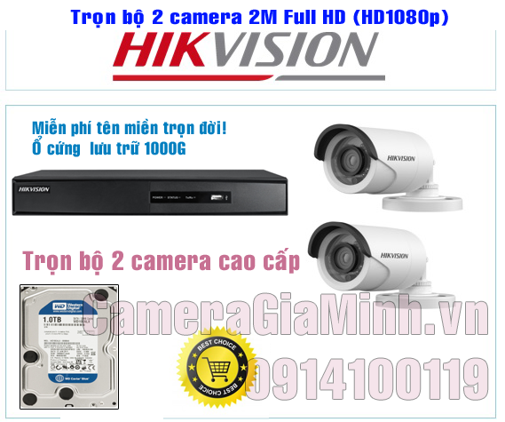 Trọn Bộ 2 Camera Full HD 1080P 2MP