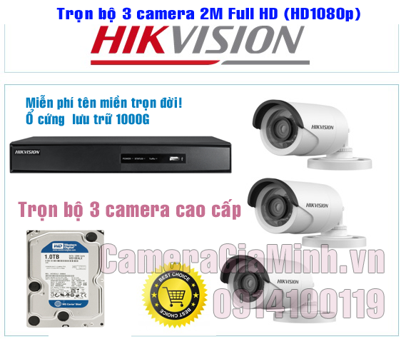 Trọn Bộ 3 Camera Full HD 1080P 2MP